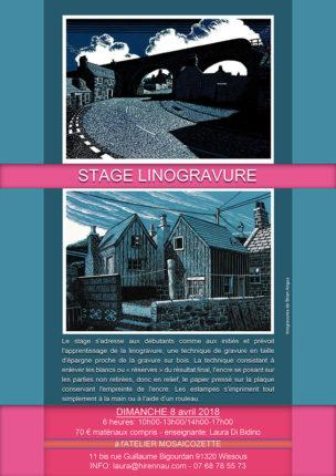 Affiche du stage Linogravure par Laura Hirrenau