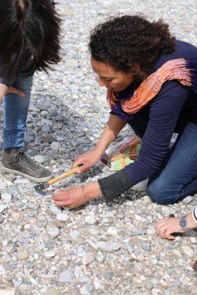 Cailloux colorés sur le fleuve Tagliamento