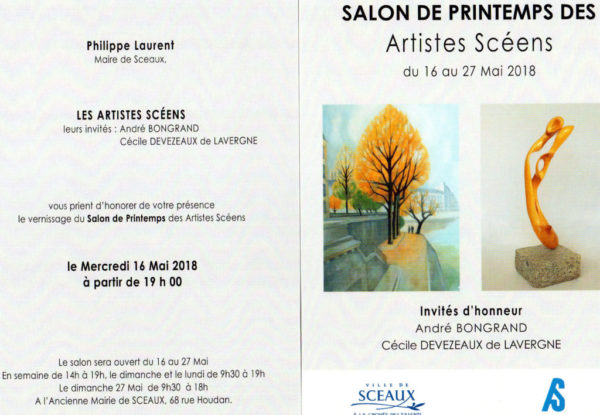 Invitation au vernissage du salon de Printemps des artistes Scéens