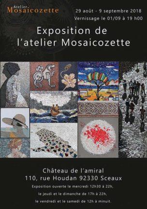 Affiche de l'exposition à Sceaux des élèves du cours de mosaïque de l'atelier Mosaicozette.